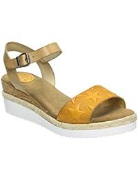 Sandales En Cuir Porronet Et Trenzadarojo, Amarillocuña Vert Et Textile: 7 Cm