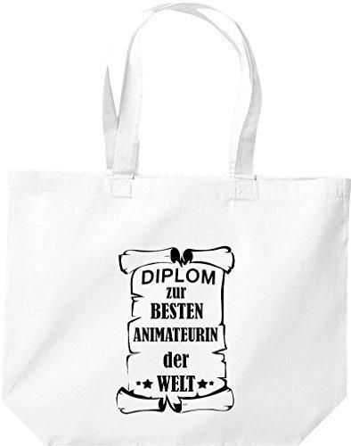 shirtstown grande borsa della spesa, diplom A MIGLIOR animateurin DEL MONDO Bianco