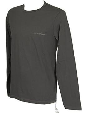 Emporio Armani Hombre Camiseta de pijama con logo de pecho largo, Gris, Large