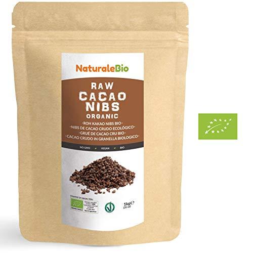 Nibs de Cacao Crudo Ecológico 1 kg | 100% Puntas de Cacao Bio, Natural y Puro | Cultivado en Perú a partir de la planta Theobroma cacao | Rico en antioxidantes, minerales y vitaminas | NATURALEBIO