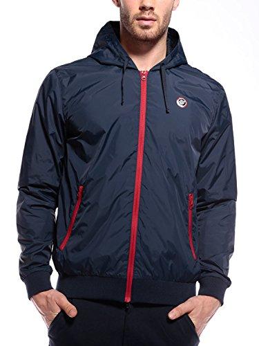 WOLDO Athletic Herren leichte Übergangsjacke Kapuzenjacke Sportjacke Trainingsjacke Jacke slim fit (M, Hanley / blau)