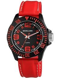 Excellanc 225675000016 - Reloj para hombres, correa de diversos materiales color rojo