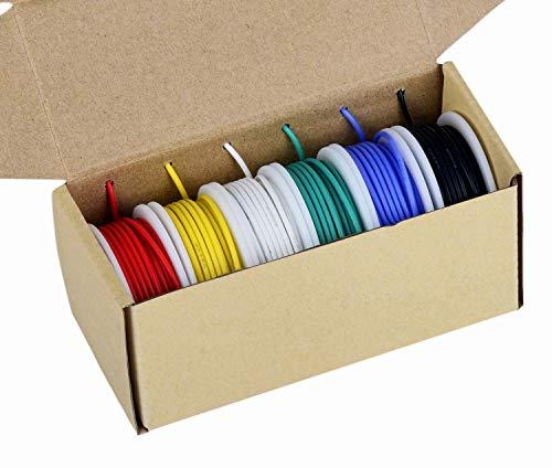 20 Cavi per elettronica Gauge, filo colorato Kit Filo flessibile in silicone 20 AWG (6 diverse bobine colorate da 7 metri) Resistenza alle alte temperature con filo isolato da 600 V