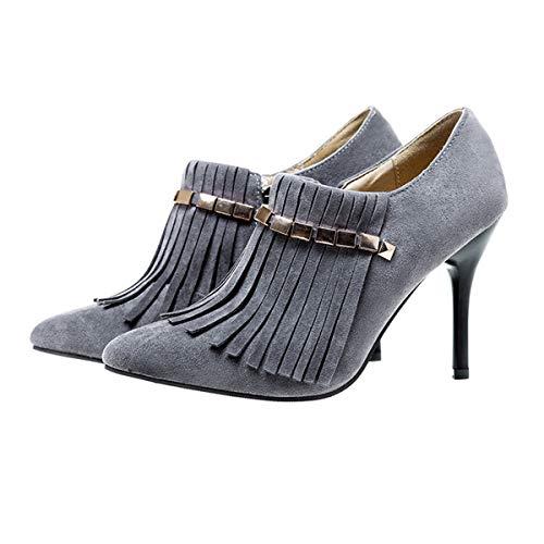 GDXH Neue Schuhe,Frauen Handmade Fine Heel High Heels Tassel Shoes Suede Bequeme Pointed Toe Inner Leder für den Termin und gehen zur Arbeit,Gray,38EU -