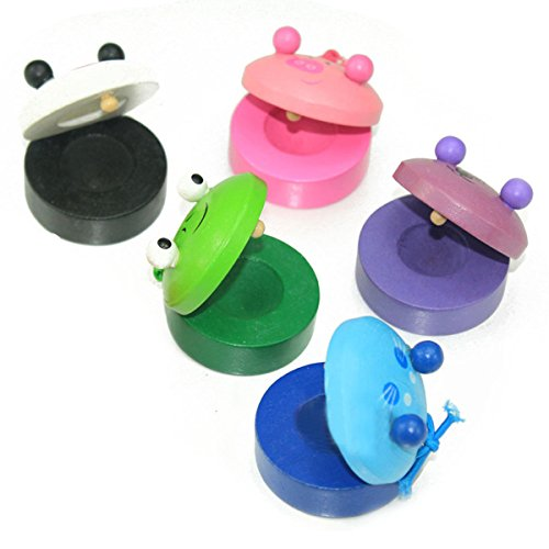 Castanets Finger Wooden Musical Instruments Toys for Baby Kids 6pcs