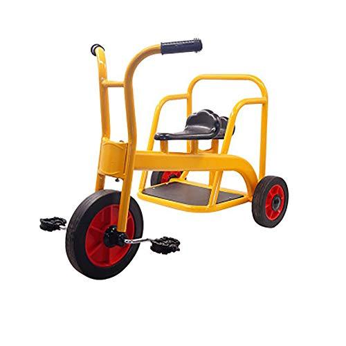 SHARESUN Mein Fahrer-Tandem-Dreirad-Kinder-Dreirad, Retro-Design-Gummirad-Dreirad-Chrom-Vorderrad-Kotflügel-Einstiegshilfe, für Kinder ab 3 Jahren,Yellow
