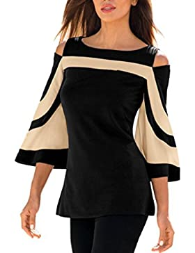 Ansenesna Mujer Fría Hombro Manga Larga Sudadera Camiseta Blusa Camisa