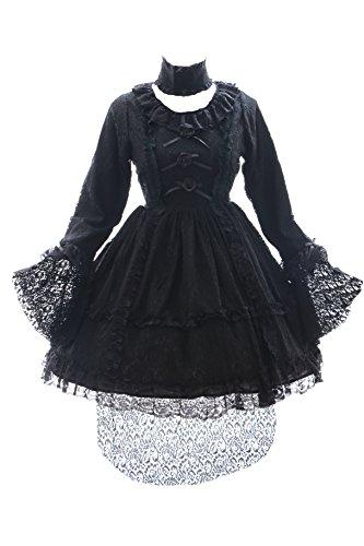 JL-609 schwarz Spitze Lace Vampir Gothic Lolita Kleid Kostüm dress Cosplay (EUR Gr. L)