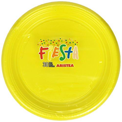 Aristea Fiesta - Lot de 30 Assiettes en Plastique, Couleur Jaune