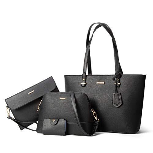 ELIMPAUL Damen Handtaschen Shopper Groß Schultertasche Geldbörse Kartenhalter Tasche 4-teiliges Set Geschenk Schwarz