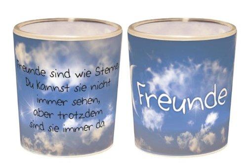 Windlicht+Teelicht 6x6cm Für Dich Freunde in Geschenkpackung