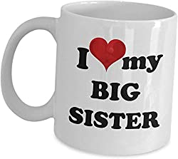 Big Sister Coffee Mug - Cute Gift For Eldest Sister - I Love My Big Sister - National Sibling Day Best Brother And Sister Gifts For Sissy Adult Birthday Christmas Surprise Cup