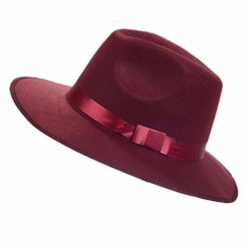 Vintage Cap Männer Frauen mit breiter Krempe Fedora Trilby Panama Hut harte Hüte Gangster, Wein rot (Black Box Wein Kostüm)