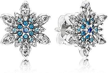 Auténtico pendientes de puño Pandora 290590NBLMX Mujer Plata Copos de Crystal Zircons