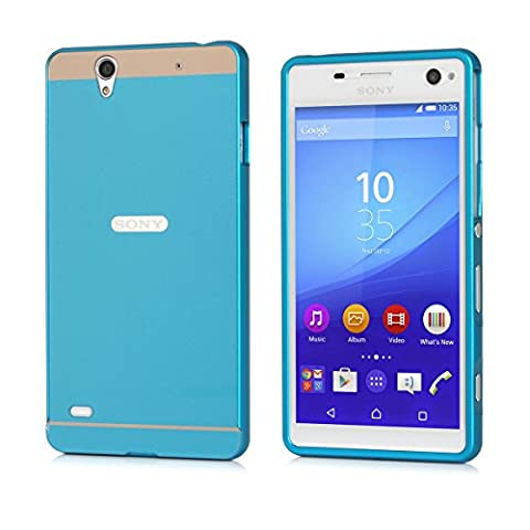 Xperia C4 Case Cover, Moonmini® Ultra Thin Hybrid Combo Body Armor Metal Bumper Frame Case with Hard PC Back Cover Protector Shield for Sony Xperia C4 - Blue