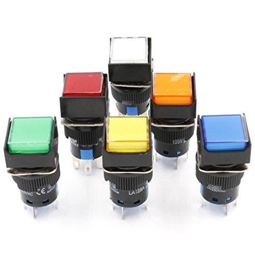 heschen 16mm quadratisch Momentary Push Button Switch 1NO 1NC rot blau gelb weiß grün orange 12V LED Lampe -