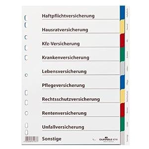 Durable 674127 Blanko-Register aus PP, 10-teilig, Universallochung, 25 Stück, farbiger Verlauf, grau