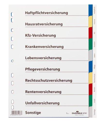 Durable 674127 Blanko-Register (aus PP, 10-teilig, Universallochung) 25 Stück farbiger Verlauf, grau