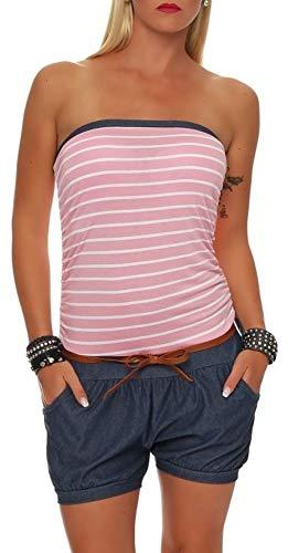 Malito Damen Einteiler kurz im Marine Design | Overall mit Gürtel | Jumpsuit im Jeans Look | Romper - Playsuit 9646 (rosa)