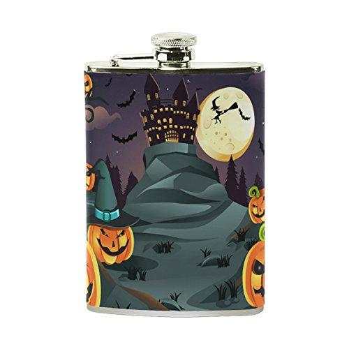 COOSUN Halloween Kürbisse Hintergrund Trinkflasche mit PU-Leder umwickelt, Edelstahl Leak Proof Alkohol-Hüfte-Flasche, 8 Unzen Mehrfarben