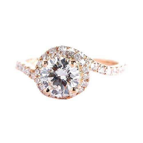 Verlobungsring 18 Karat Rotgold 1,30 Karat SI2 H Diamant Brillantschliff GIA zertifiziert