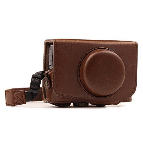 MegaGear MG1173 Canon PowerShot SX740 HS, SX730 HS Ever Ready - Étui de Protection en Cuir avec Bandoulière -Brun Fonce
