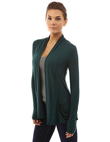 PattyBoutik Damen weiche Stretch Schalkragen Strickjacke mit Taschen und langen Ärmeln Dunkelgrün