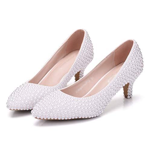 Scarpe da sposa Moda Shallow Shoes Personality Tacchi alti Ufficio Scarpe casual Scarpe da sposa Scarpe Toast A punta Tacco medio Scarpe da banchetto scarpe tacco alto sexy ( Color : A , Size : 34 )