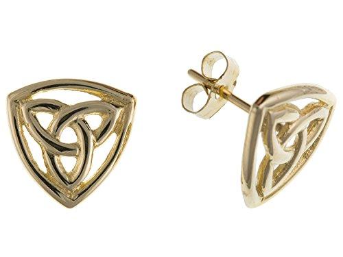 10mm Damen Ohrstecker 9Karat Gelbgold Keltischer Knoten Dreieck Triquetra Ohrstecker/Ohrringe-Irische Schmuck-Lieferung erfolgt in Geschenkbox oder Geschenkbeutel