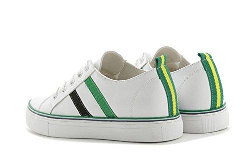 Damen Lässige Dünne Sportliche Bequeme Streifen Schöne Schnürsenkel Canvas Dicke Sohle Aufzug Sneakers Grün