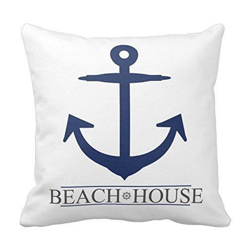 Generic Custom Nautical Beach House Anchor pillow. Navy Blue Cotton Decorative Pillowcase 18inch Throw Pillowcase Cushion Cover Twin Sides