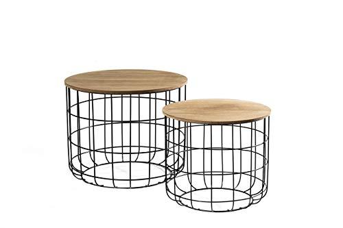 LIFA LIVING® 2er Set Beistelltisch aus schwarzem Metall und einer MDF-Holz Platte   Couchtisch mit Korbfunktion im Vintagestil und Industriestil   Bis zu 20kg Belastbarkeit