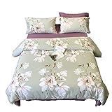 Quilt Set, Bettwäsche, Kissenbezüge, Baumwollbettwäsche 4 Stück, Pflegeleicht King-Bett Super Soft Einfache Weiße Magnolia Blumen Schlafzimmer-Set (größe : 1.8m Bed)