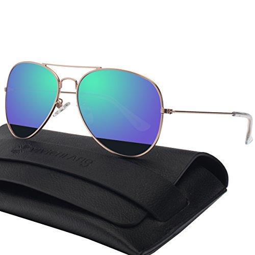 Unisex Silber Spiegel Aviator Flieger Sonnenbrille Reflektierenden Revo-Spiegel Objektiv 85832B(Gold,Blue)