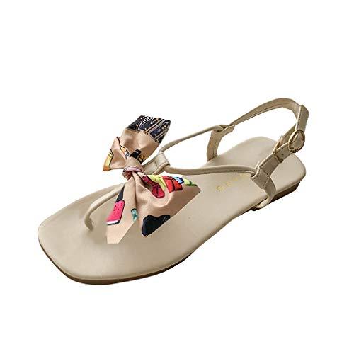 Lilicat Pantofole Donna Sandali Estivi Donna Bassi Scarpe Casual da Spiaggia di Moda Estate Roma con Arco Vintage Elegante Moda Sexy Nuovo Infradito (35 EU,Beige)
