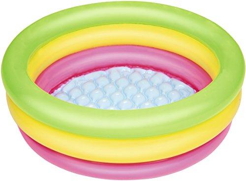 Bestway 51128, Piscina hinchable redonda con alfombra para niños (70 x 70 x 24 cm) - 3 anillos inflables de colores verde, amarillo, y rosa