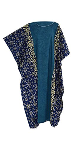 Cool Kaftans - Fiji Haut Caftan Femme Style Tunique Coton Long Été tenue Vacances Matière Fraîche Bleu Noir