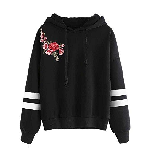 Damen Pullover Lady Fashion Print Langarm mit Kapuze Solid Tops Bluse Shirt MYMYG Gedruckt Pullover Herbst Einzigartige Winter Langarm Crop(E1-Schwarz,EU:38/CN-L)