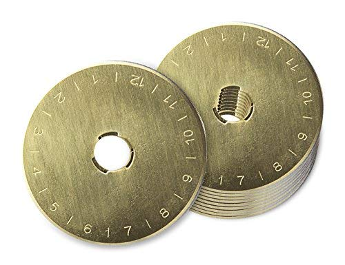 Tonsiki 10 Stück 45 mm Titanbeschichtete Rotary Cutter Klingen, perfekt für Stoffe, Nähen, Leder und Papier