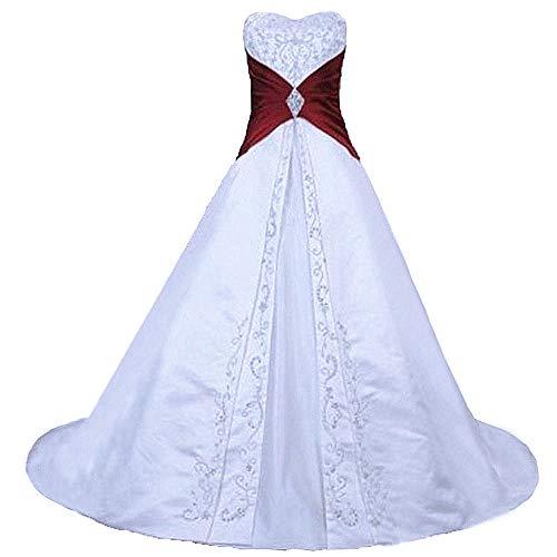 Zorayi Damen Elegante A-Linie Schnürung Stickerei Satin Brautkleid Hochzeitskleider Weiß & Burgund Größe 46