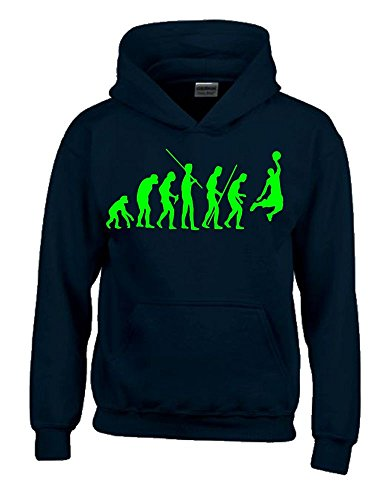 BASKETBALL Evolution Kinder Sweatshirt mit Kapuze HOODIE schwarz-green, Gr.152cm -