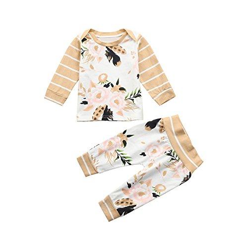 Kinder Pullover Langarm Blätter Drucken Streifen T-Shirt Top + Lange Hosen Yanhoo Unisex Baby 2 Stück Bekleidungsset