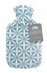 Wärmflasche mit schönen Fleece-Druck Soft Cover Premium Naturkautschuk 2 Liter Heißwasser-Tasche - hilft Wärme und Komfort (Türkis)