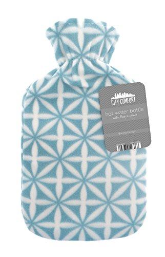 Wärmflasche mit schönem Fleece-Aufdruck, weiche Hülle, hochwertiger natürlicher Gummi, 2Liter Wärmflasche–bietet Wärme und Komfort türkis