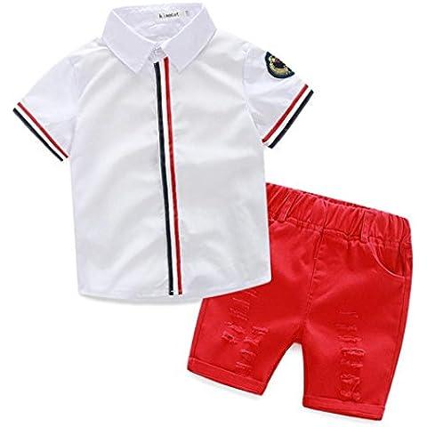 Koly 2016 niños del verano de la ropa del bebé de los muchachos camisetas + pantalones de cortocircuitos de ropa (90, Blanco)