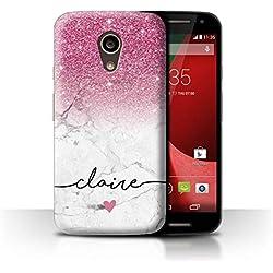 eSwish Personnalisé Ombre Pailleté Personnalisé Coque pour Motorola Moto G 4G 2015 / Marbre Blanc Pailleté Rose Design/Initiales/Nom/Texte Etui/Housse/Case