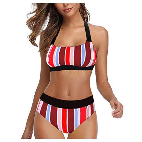 Dasongff Damen Neckholder Push Up Bikini Set Hohe Taille Bikinislip Bikinihosen Triangel Zweiteilige Tankini Bunt Sport Split Gestreift Badeanzug