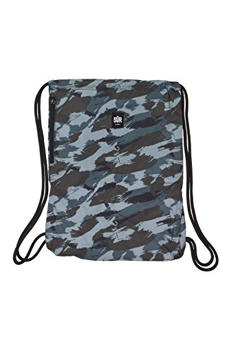 MSTRDS Unisex Sur Street Gym Bag camo black/grey One Rucksack Turnbeutel im Hipster Stil mit Aufdruck -