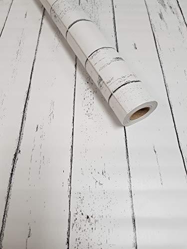 *Visario Tapeten Folie 3000-S selbstklebend Holz Bretter Paneel Strandhaus Dekorfolie Möbelfolie Tapete weiß 10 m x 45 cm 3021*