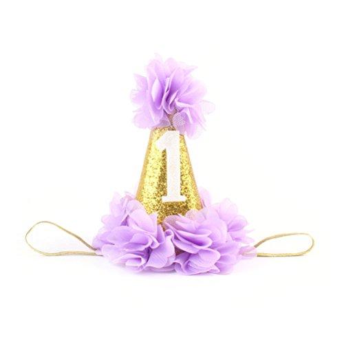 OULII Blumen Party Hut Krone 1. Baby Geburtstags-Prinzessin Hairband Haar Zusätze (purpurrot)